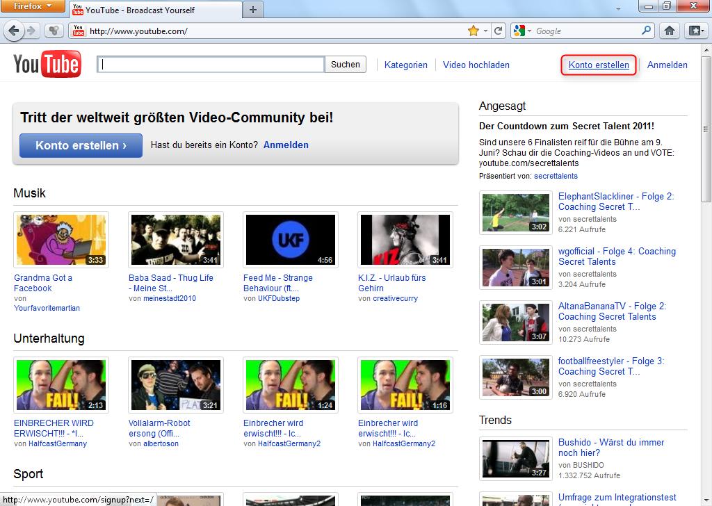 youtube.com anmelden Albstadt